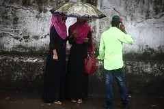 The Mysterious Twins (N A Y E E M) Tags: girls women twins burqa yesterday friday afternoon rain monsoon umbrella street colors gmroad chittagong bangladesh sooc raw unedited untouched carwindow