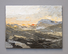 Snowdonia Sunset - Painting by Steve Greaves (Steve Greaves) Tags: art artwork paint painting acrylic landscape wales welsh mountains hills cymru texture colour grey black white cadmiumorange yellowochre technique paletteknife paintingknife sunset orange kyffin kyffinwilliams vangogh vincent vincentvangogh impressionist impressionism expressionist expressionism modern abstract allaprima wood board britart barnsley modernart scene clouds sky rocks rugged dramatic investment peaks valleys sun evening sunrise