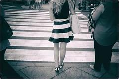 Untitled (Steve Lundqvist) Tags: new york usa states united america manhattan stati uniti travel trip viaggio traveling girl ragazza model urban city urbanscape ny nyc persone fashion moda mood attractive beauty stripes streetphotography zebra crossing street road juxtaposition juxta skirt fujifilm x100s bw monochrome back rear