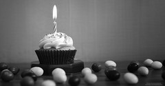 Candle & Cupcake! (Br@jeshKr) Tags: candle candy cupcake celebration birthday brajeshart brajeshartfood foodphotography cake monochrome