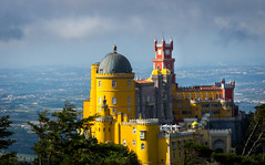 Fairytale (dlerps) Tags: daniellerps europe lerps lisboa lisbon portugal sigma sony sonyalpha sonyalphaa77 lerpsphotography penapalace palácionacionaldapena castle stronghold palace hill view clouds yellow red romanticarchitecture romantic sintra sintracascais parquenaturaldesintracascais sintracascaisnaturalpark dome tower pena mountains colours colors colourful highcross viewpoint