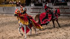 Epic sword battle on horseback. (kuntheaprum) Tags: medievaltimes dinnershow horse sword lance joust nikon d750 sigmaart 50mm f14