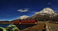 Ropes at the marina. (Remi Haugen) Tags: buildings boathouses blue rope norway norge nature nordmøre natur spring sunndalsøra sunndal skie sea skyer sunndalsora sky snow sunndalsfjorden sjø visitnorway landscape landskap weather rockformation ridge outdoor mountain møre