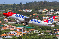 Edelweiss A320 (HB-IJV) take off at Madeira LPMA (Simon Van Assche Photography) Tags: hbijv eiw eidelweiss airbus a320 320 passengers vacation madeira airport location lpma transport take travell aviation avion avgeek avporn aircraft airlines air spotters spotter spotting spott skies spot sun plane picture piste photo pic photography exterieur exposition europa portugal pax red flower