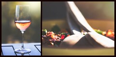 food always tastes best when shared with real friends (rockinmonique) Tags: 52in52 eleven food diptych friends wine light bokeh golden yellow green macro reflections moniquew canon canont6s tamron copyright2017moniquew