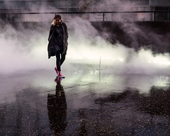 London Fog (donvucl) Tags: london tatemodern fujikonakaya foginstallation londonfog watervapour reflections movement olympusem1 donvucl textures urban girl woman figure colour