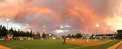 Baseball and rainbows (BDFri2012) Tags: baseball game rainbow loanmartfield ranchocucamongaquakes field clouds sunset dusk quakes california ca inlandempire ranchocucamonga umpire minorleague grass panorama djpeters