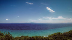 Shades of blue and green (Мaistora) Tags: sea ocean bay gulf view vista panorama wide horizon mountains hills islands mediterranean sky clouds trees blue green teal aqua azure emerald shades nuance seascape landscape scape nature water environment weather sony alpha ilce a6000 dxo lightroom