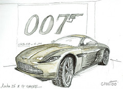Aston Martin DB 10 , Londres, expo Bond in motion, musée du film (Croctoo) Tags: croctoo croctoofr croquis aquarelle watercolor auto