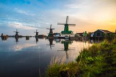 Zaanse Schans (Blende4.0) Tags: amsterdam zaanstad zaanse schans landscape windmill sky sunset netherlands