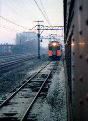 South Shore meeting IC Highliner 11-11-78 (jsmatlak) Tags: chicago illinois central electric metra highliner treain railway