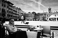 Street life (Giulio Magnifico) Tags: coffee square leicaq urban leica street friuli clouds blackandwhite vintage typical soulful thoughts streetphotography personality candid deepsoul thought power city streetlife micro udine ancient detailing urbanlife italy bw 28mm architecture panorama dog