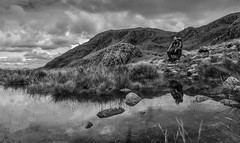 Son's Delight (creativegaz) Tags: bw blackandwhite bnw black reflection reflect water people perspective person portrait sky surface landscape light lowview lakedistrict clouds cloudporn contrast c