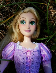 Natural Vignette (ozthegreatandpowerful) Tags: disney store tangled rapunzel doll limited edition reroot repaint custom ooak oneofakind designer accurate dress mother gothel embroidery purple pink heliotrope hair rerooted