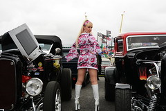Jackie_5592 (Fast an' Bulbous) Tags: girl woman hot sexy pinup model blonde hair boots psychadelic dress legs car vehicle automobile custom hotrod classic oldtimer santapod dragstalgia showshine people outdoor mature milf