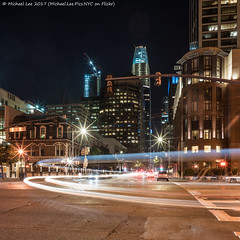 Mission and Embarcadero (20170826-DSC00740) (Michael.Lee.Pics.NYC) Tags: sanfrancisco embarcadero missionstreet night longexposure lighttrail traffictrail salesforcetower 181fremont construction crane square architecture cityscape streetscene sony a7rm2 zeissloxia21mmf28