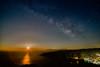 Moonrise and the Milky Way (II) (n.pantazis) Tags: outdoor night moon moonrise stars sky dark milkyway andros korthi korthion sea aegean pentaxks2 tamron longexposure