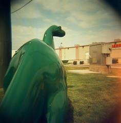 holga dina2 (HOOVER14) Tags: dino dinosuar sinclair oil west 2nd street casper wyoming holga hlogaglo 120n camera lomagarphy 120 slide film