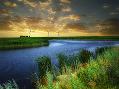 Dakota wetlands 14 (mrbillt6) Tags: landscape rural prairie wetlands pond waters shore grass towers wind outdoors country countryside northdakota
