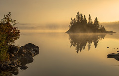 Golden Morning (corybeatty) Tags: golden hour novascotia sherbrooke sun light landscape morning lake lakeside island reflection placid still water trees canada