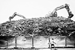 Rise Of The Machines (Aleksandar M. Knezevic Photography) Tags: belgrade beograd serbia srbija street rublle machines working demolition people urban streetphotography monochrome bw blackandwhite urbanlife life