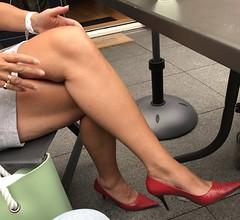 MyLeggyLady (MyLeggyLady) Tags: thighs teasing crossed secretary hotwife milf minidress sexy cfm stilettos legs heels