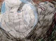 Days Of The Mirror (giveawayboy) Tags: pencil crayon drawing sketch art acrylic paint painting fch tampa artist giveawayboy billrogers wmotf sasquatch bigfoot wildman man mylar foil balloon nap recreation play mirror toy recognition selfawareness shiny floating mylarballoon