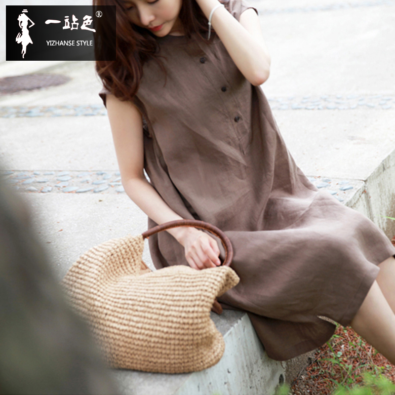 The new summer leisure dress size waist tie loose cotton short sleeved linen dress female Retro Art