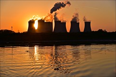 going... (Nanny Bean) Tags: rivertrent torksey coolingtowers smoke steam silhouette sunset reflections cottampowerstation e late think aboiut 9 just sun was setting