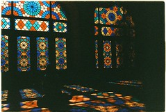 Nasir ol Molk Mosque, Shiraz - Patterns of Sun (grassybrownie) Tags: camera 35mm film yashica kodak doors beauty beautiful door window windows reflection shadow dark sun sunshine sunlight sunrise color colors colorful art arts artsy artist architecture architect design designer illustration building buildings house interior oldhouse mosque religion religious islam islamic iran persia iranian persian shiraz nasirolmolk pinkmosque photo photography photographer lomo lomography portrait people black