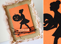 happy halloween (minttint) Tags: halloween handmadecard orange dots dotted silhouette vintageillustration
