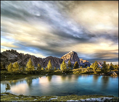 ... un principio di magia ... (Gio_ said_good_by) Tags: life love lake light limides liga lightness landscape sky water reflection dolomiti dolomites dolomiten italy sunset clouds nuvole sera atmosphere quiete