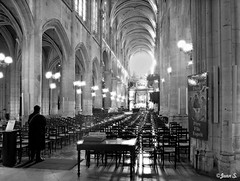 Recueillement (Jean S..) Tags: church indoors chairs lights blackandwhite bw monochrome