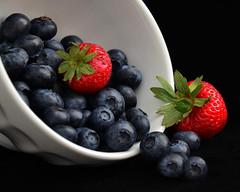 A Berry Late Night Snack (njk1951) Tags: berries strawberries blueberries red white blue stilllife whitebowl onblack blackbackground snack latenightsnack berrysnack bowlofberries