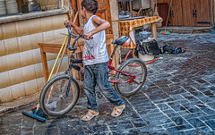 boy with bike on streets of Beirut (Pejasar) Tags: boy street candid bicycle cafe outdoor beirut lebanon