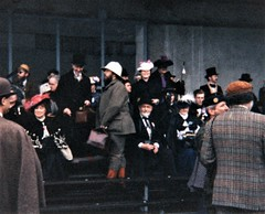 The Pilgrims gather to watch a demonstration of mechanical military choreography (photo by Roger Johnson)