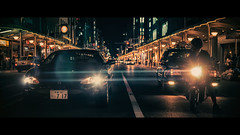 Shijo Dori, Kyoto, Japan [Explored] (emrecift) Tags: cityscape road lights motorcycle bike night teal orange street photography kyoto japan cinematic 2391 anamorphic cinemorph filter oval bokeh blue streak sony a7 alpha legacy lens glass canon new fd 50mm f14 emrecift