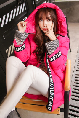 N 2016 winter new Korean style women's hair ball, hooded, offset letters, long loose coat, colorful coat