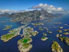 Hundred Islands (Fabian Fortmann) Tags: henningsvær lofoten norway football pitch island north venice mountain sea water clouds dji mavic drone