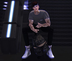 Journeys (MATTY // *OMG*) Tags: sl men mens blog blogger look outfit lotd clothing clothes mesh new event pocketgatcha gatcha win rare thereafter stealthic hair drot bandana clavv survival bag backpack semller pants tee tshirt highwaisted cuffed skinny denim jeans wonton verses cons sneaks sneakers kicks street urban stylish style