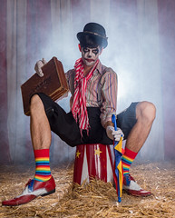 Faded Circus- Scary Brian (Explored) (susie2778) Tags: gavtraincom gavinhoey olympus omdem1mkii fadedcircus olympusm12100mmf40 clown flash studio smoke circus stool colourful brianmansi