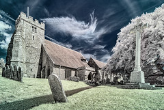 St Georges Church, Arreton (Elm Studio) Tags: copyright copyrighted jeffmorgan elmstudio jeffelmstudiocom wwwelmstudiocom 4407542933700 isleofwight 2017 appicoftheweek morgan historical holy religious stgeorgeschurch arreton england europe newport uk colourchannelswap expermentalcolour infrared mirrorless niksilverefex painted panasonic chapel church grave gravestone graveyard cross path sky morning clouds gbr