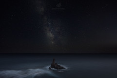 God's Finger (MANUELup) Tags: sea concept blue horizon black seascape clean purple longexposure star clear seashore waterscape finger naturallight galaxy nightscape colourful sky spain water night god rock andalucía stars milkyway almería cabodegata