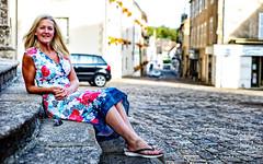 Justine on the steps of the church in St Yrieix La Perche. (TrevKerr) Tags: girl woman portrait nikon d3s nikon50mmf18 dress summer