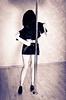 Pole'n'Girl I (Raggnarr) Tags: sexy erotic erotica woman girl pose strip stripptease pole poledance room heels legs alluring dancing spinning wickedweasel wicked weasel bikini monokini microminimus undressing brunette