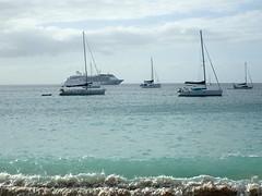 Cruise ship, six cats, and a breaking wave. (vbvacruiser) Tags: cruise caribbean vacation silversea silverwind stvincentandthegrenadines bequia princessmargaretbeach catamaran beach waves