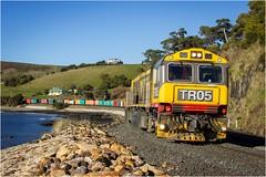 36 Inbound to Burnie (Trains In Tasmania) Tags: australia tasmania tasrail diesellocomotive train trclass tr tr05 tr14 caterpillar trainsintasmania stevebromley goodstrain freighttrain containertrain intermodaltrain ef35350mm13556lusm canoneos550d tasmaniancountryside tasmanianscenery railway rail
