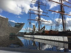 Discovery reflection (marionmcmurdo) Tags: ship rrsdiscovery water reflection victoriaandalbertmuseum va dundee captainscott waterfront rainwater puddle sky clouds angus scotland coast canoneos760d