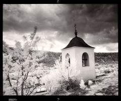 Chapel (tsiklonaut) Tags: pentax 67 6x7 film analog analogue analogica analoog 120 roll medium format black white negro y blanco mustvalge efke ir820 infrared infra ir infrapuna glowing dreamy moldova moldaavia landscape shrine religion religious christian chapel building architecture andient olt maastik kirik kabel vana orhei old orheiul vechi travel discover experience east eastern europe moldovan dramatic unreal drum scan drumscan scanner pmt photomultipliertube orthodox cross