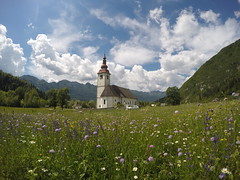 A church in a field in Triglov Nat Park.